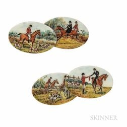 15kt Gold and Enamel Cuff Links