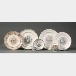 Seven Assorted  Ship-theme Ceramic Items