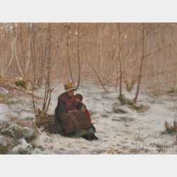 Frank Crawford (Francis) Penfold (American, 1849-1921)      Mother and Child Seated on a Bundle of Sticks in a Winter Wood