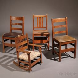 Four Oak Arts & Crafts Chairs