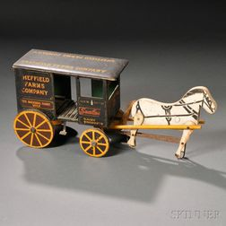 Painted Wooden Horse-drawn Milk Wagon Push-toy