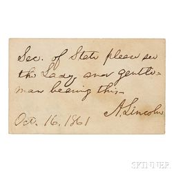 Lincoln, Abraham (1809-1865) Autograph Note Signed, 16 October 1861.