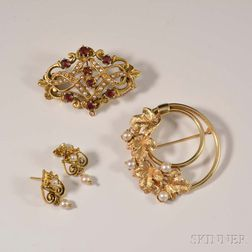 Group of 14kt Gold Victorian Revival Jewelry