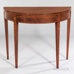 Mahogany and Mahogany Veneer Inlaid Demilune Card Table