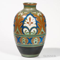 Large Gouda Pottery Ali   Vase