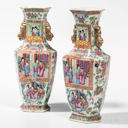 Pair of Rose Medallion Export Porcelain Vases
