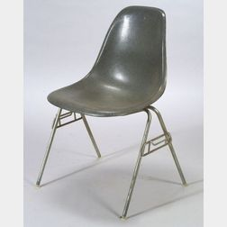 Charles and Ray Eames Molded Fiberglass and Bent Steel Side Chair and Two Van der   Rohe BRNO Armchairs.