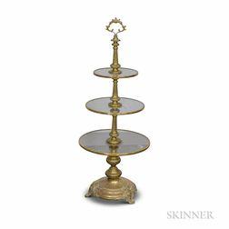 Brass and Glass Three-tier Dumbwaiter