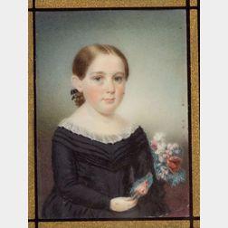 Attributed to Sarah Goodridge (Massachusetts, 1788 - 1853)    Miniature Portrait of Mrs. Solomon Sargent (nee' Persis Child).