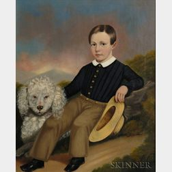 Attributed to Joseph Goodhue Chandler (Connecticut River Valley, 1813-1884)    Portrait of a Young Boy with His Dog, c. 1845.