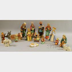 Seventeen-piece Hummel Ceramic Nativity Set