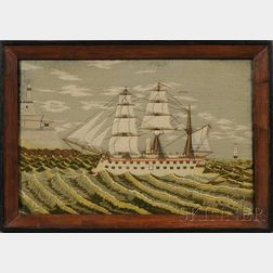 Framed Woolwork Marine Picture