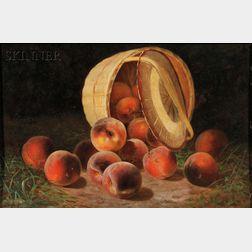 John Joseph Enneking (American, 1841-1916)      Peaches Spilling from an Overturned Basket