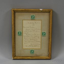 Henry Wadsworth Longfellows Framed Autographed Letter