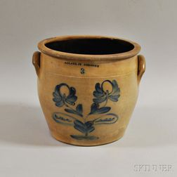 N. Clark Jr. Cobalt-decorated Three-gallon Stoneware Crock