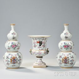 Pair of Samson Porcelain Chinese Export-style Vases and Urn