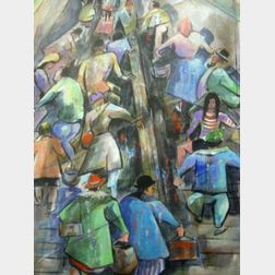 Framed Mixed Media Work on Paper of a Crowded Escalator