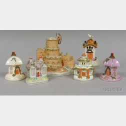 Six English Staffordshire Castle and Cottage Figurals
