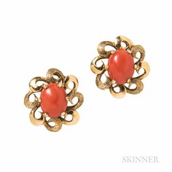 18kt Gold and Coral Earclips