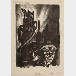 Harry Sternberg (American, 1904-2002)      Steel Workers.