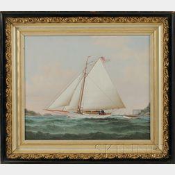American School, 19th Century      Portrait of the Sloop Yacht DEFYER   Sailing in New York Bay.