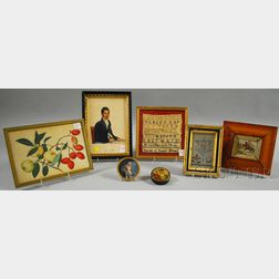 Two Snuff Box-related Items and Four Small Framed Articles