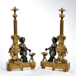 Pair of Louis XVI-style Bronze Cupid Chenet