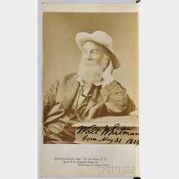 Whitman, Walt (1819-1892) Two Rivulets, Signed Presentation Copy.