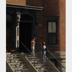 William P. Duffy (American, b. 1948)    Sunday Morning News, The South End, Boston
