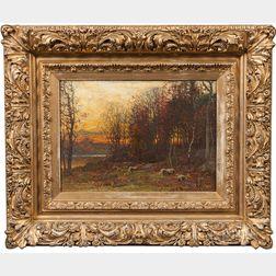 John Joseph Enneking (American, 1841-1916)      Sunset Landscape