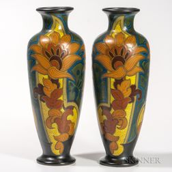 Pair of Gouda Pottery Zusada   Vases