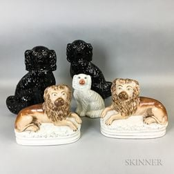 Pair of Staffordshire Ceramic Lions and Three Spaniels
