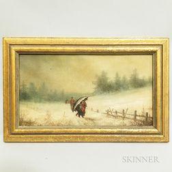 Framed Continental School Oil on Canvas Snow Scene