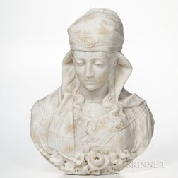 Italian School, Late 19th/Early 20th Century,       Alabaster Bust of a Woman