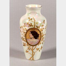 Heubach Hand-painted Porcelain Portrait Vase
