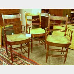 Set of Six Windsor Red-painted and Stencil Decorated Dining Chairs