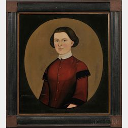 Prior-Hamblen School, 19th Century      Portrait of a Young Woman Wearing a Red Dress.