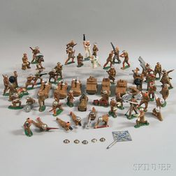 Forty-nine Barclay Painted Hollow Cast Lead Mostly WWI Army Figures and Figural   Groups, and Seven Vehicles