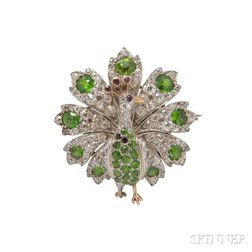 Antique Demantoid Garnet and Diamond Brooch