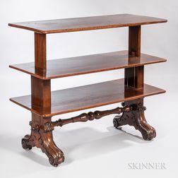 William IV Walnut Metamorphic Dumbwaiter Table