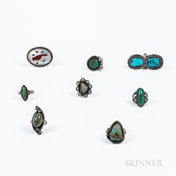 Eight Navajo Silver and Turquoise Rings
