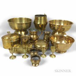Seventeen Early Brass Kitchen Items