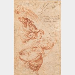 Italian School, 16th Century      Double-sided Drawing Page: Recto, Two Angels