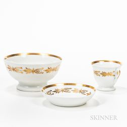 Gilt Porcelain Cup and Saucer with Waste Bowl