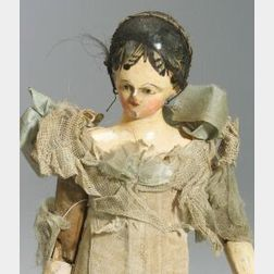 Early Carved Wooden Articulated Doll