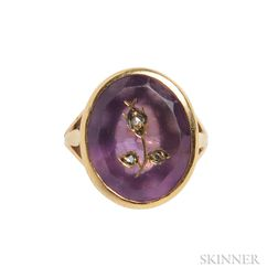 18kt Gold and Inlaid Amethyst Ring