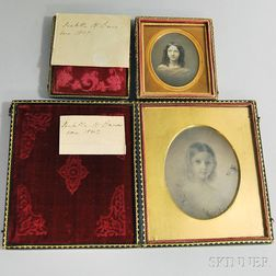 Half-plate and Sixth-plate Daguerreotypes of a Painted Portrait and Portrait of a   Girl