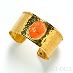 18kt Gold and Coral Cameo Cuff Bracelet