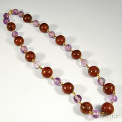 Amethyst and Sunstone Beaded Necklace