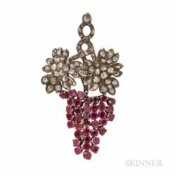 Ruby and Diamond Grape Cluster Brooch